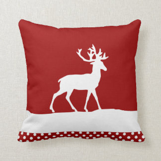 Deer Silhouette - Red and White Throw Pillows