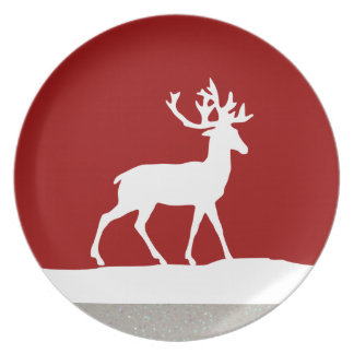 Deer Silhouette - Red and White Plate