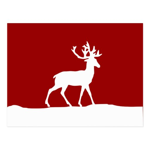 Deer Silhouette - Red and White Postcard