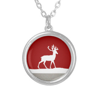Deer Silhouette - Red and White Round Pendant Necklace