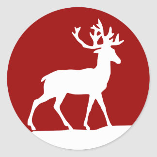 Deer Silhouette - Red and White Round Stickers