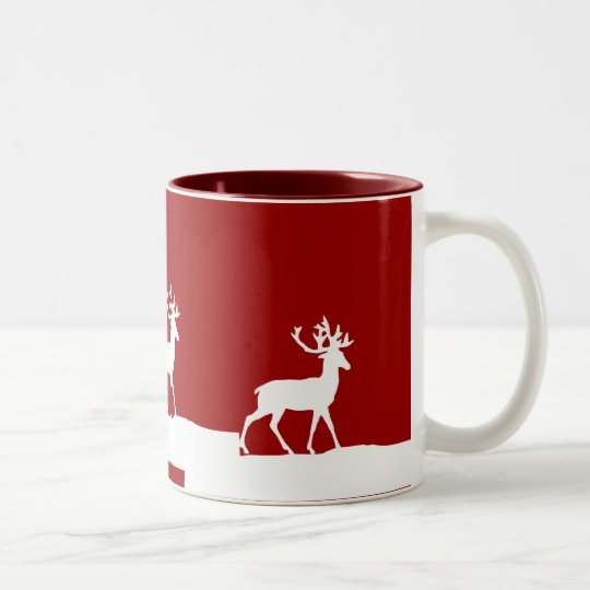 Deer Silhouette - Red and White Two-Tone Coffee Mug
