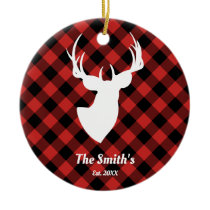 Deer Silhouette Red Black Buffulo Plaid Family Ceramic Ornament