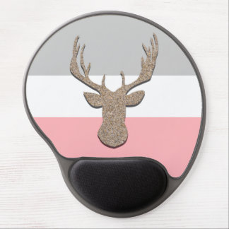 Deer Silhouette, Stag On Blue and Grey Gel Mouse Pad