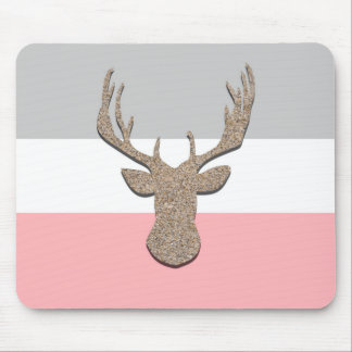 Deer Silhouette, Stag On Blue and Grey Mouse Pad