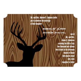 Deer Silhouette Wood Grain Wedding Invite