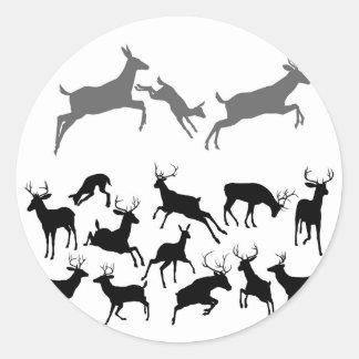 Deer Silhouettes Round Sticker