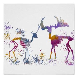 Deer Skeletons Poster