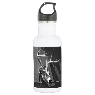 Deer Skull and Antlers in Black and White 18oz Water Bottle
