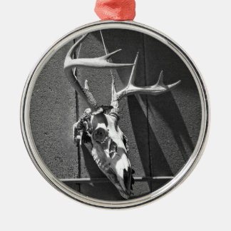 Deer Skull and Antlers in Black and White Metal Ornament