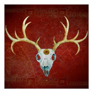 Deer Skull Antlers Ox Blood Gold Native American Poster