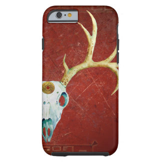 Deer Skull Antlers Ox Blood Gold Native American Tough iPhone 6 Case