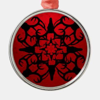 Deer Skull Design in Black and Red Metal Ornament