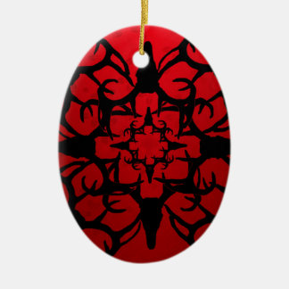 Deer Skull Design in Black and Red Christmas Ornaments