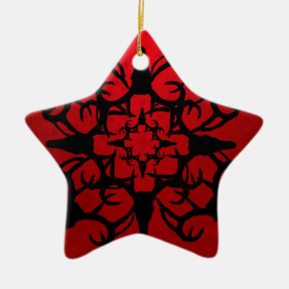 Deer Skull Design in Black and Red Ornaments