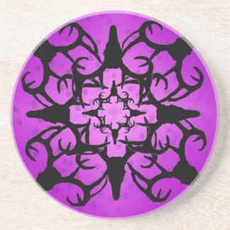 Deer Skull Design in Purple and black Drink Coaster