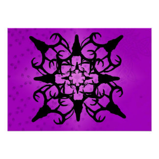 Deer Skull Design in Purple and Black Poster