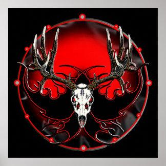 deer skull in flames 2 posters