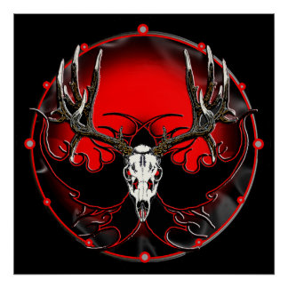 deer skull in flames 2 poster
