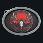 "Deer skull in flames oval belt buckle<br><div class=""desc"">Trophy buck in the European style mount.</div>"