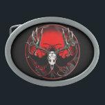 "Deer skull in flames oval belt buckle<br><div class=""desc"">Trophy buck in the European style mount.</div>"