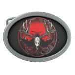 Deer skull in flames oval belt buckle<br><div class='desc'>Trophy buck in the European style mount.</div>