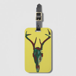 Deer Skull Luggage Tag with card slot