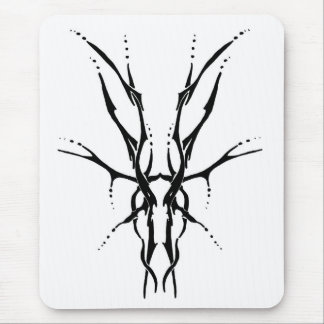 Deer Skull Tribal Tattoo - black and white Mouse Pad