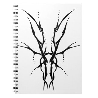Deer Skull Tribal Tattoo - black and white Notebook