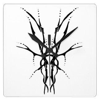 Deer Skull Tribal Tattoo - black and white Square Wall Clock