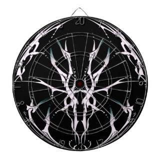 Deer Skull Tribal Tattoo Fantasy Black and White Dart Board