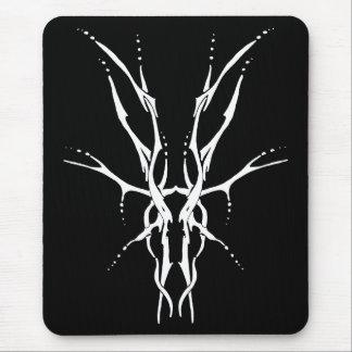 Deer Skull Tribal Tattoo - white on black Mouse Pad