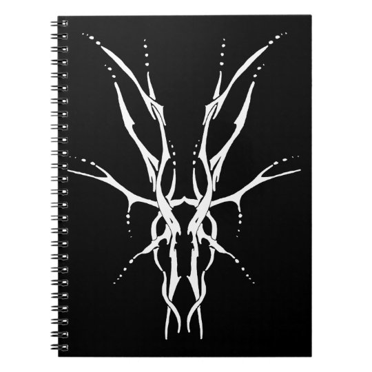 Deer Skull Tribal Tattoo - white on black Notebook
