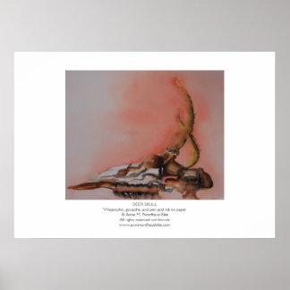 Deer Skull Watercolor Poster