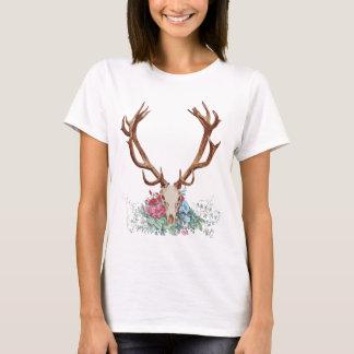 Deer Skull With Flowers 2 T-Shirt