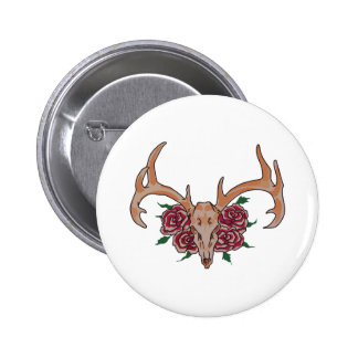 Deer Skull With Roses Button