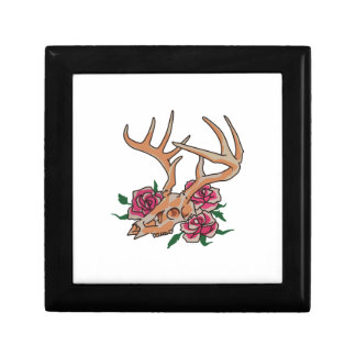 Deer Skull With Roses Jewelry Box