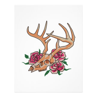 Deer Skull With Roses Letterhead