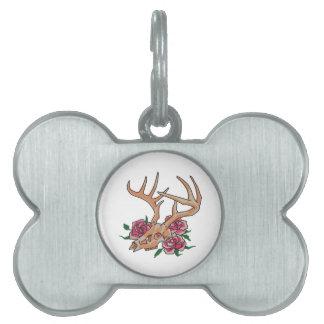 Deer Skull With Roses Pet Name Tag