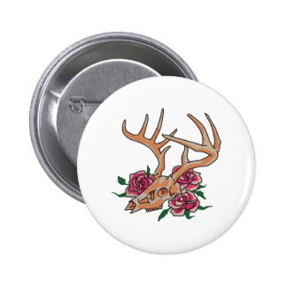 Deer Skull With Roses Pinback Button