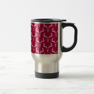 Deer skulls crimson pattern travel mug