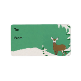 Deer Snow Winter Scene Gift Tag Custom Address Label