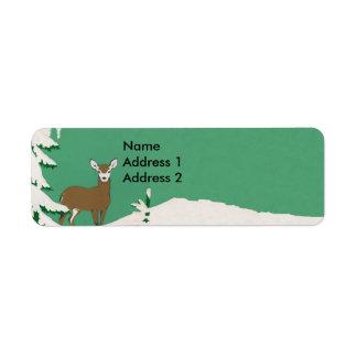 Deer Snow Winter Scene Return Address Label