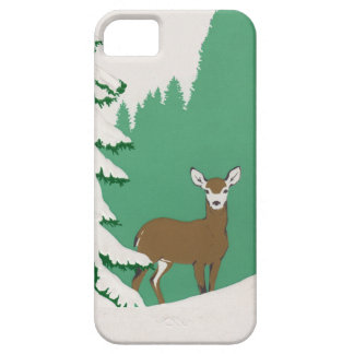 Deer Snow Winter Scene Pine Tree iPhone SE/5/5s Case