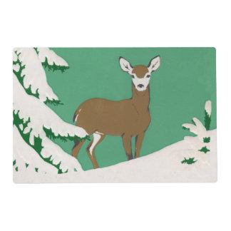 Deer Snow Winter Scene Pine Tree Placemat