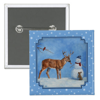 Deer & Snowman Christmas Snowflakes 2 Inch Square Button