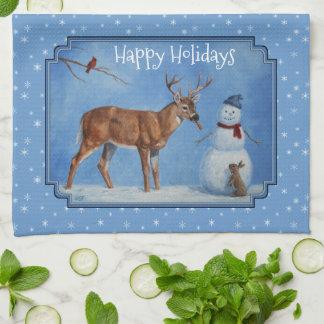 Deer & Snowman Christmas Snowflakes Hand Towel