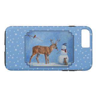 Deer & Snowman Christmas Snowflakes iPhone 8 Plus/7 Plus Case