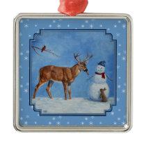 Deer & Snowman Christmas Snowflakes Metal Ornament