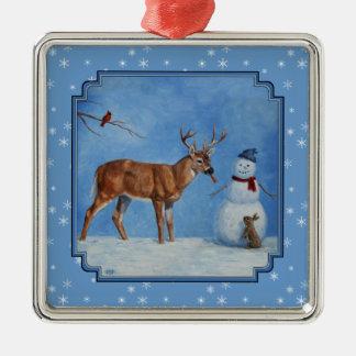 Deer & Snowman Christmas Snowflakes Square Metal Christmas Ornament